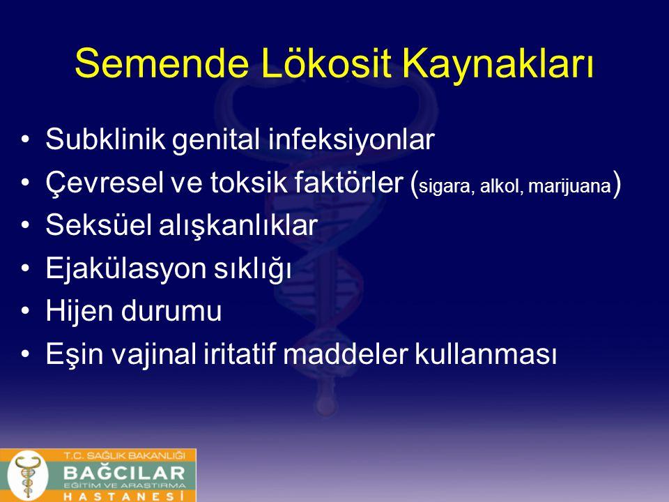 Semende Lökosit Kaynakları Subklinik genital infeksiyonlar Çevresel ve toksik faktörler ( sigara, alkol, marijuana ) Seksüel alışkanlıklar Ejakülasyon