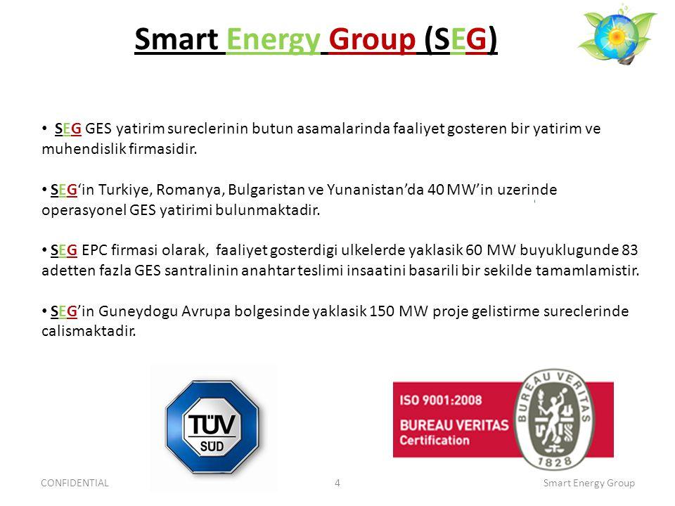 Smart Energy Group (SEG) CONFIDENTIAL4Smart Energy Group SEG GES yatirim sureclerinin butun asamalarinda faaliyet gosteren bir yatirim ve muhendislik