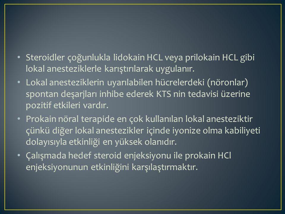 Steroidler çoğunlukla lidokain HCL veya prilokain HCL gibi lokal anesteziklerle karıştırılarak uygulanır. Lokal anesteziklerin uyarılabilen hücrelerde