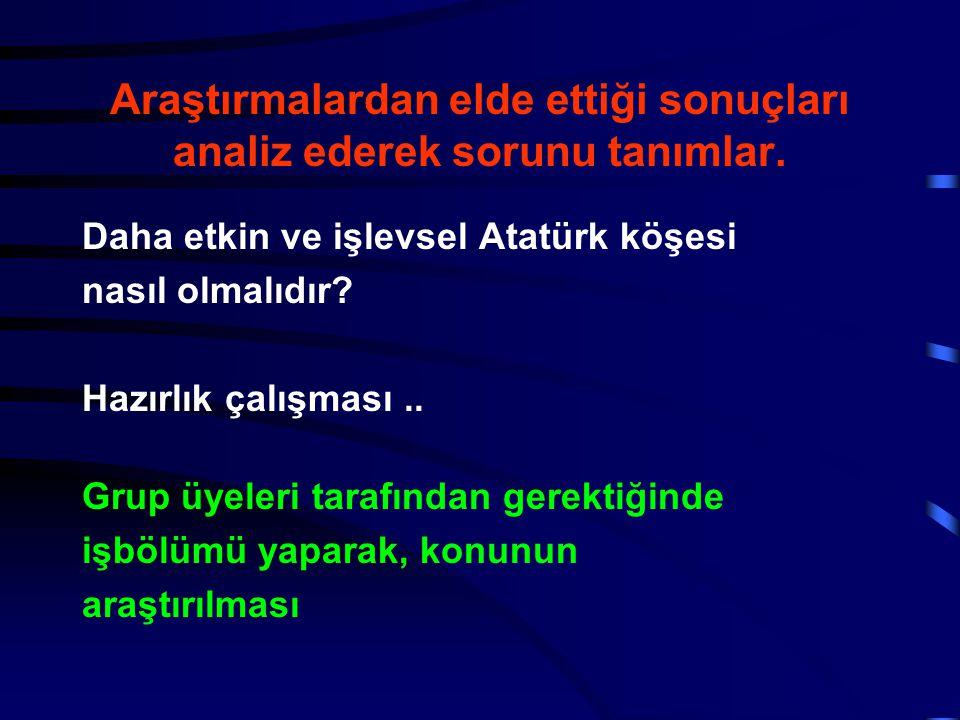 Araştırmalardan elde ettiği sonuçları analiz ederek sorunu tanımlar. Daha etkin ve işlevsel Atatürk köşesi nasıl olmalıdır? Hazırlık çalışması.. Grup