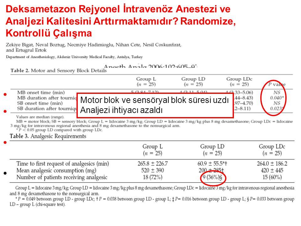 Grup L (n=25) %2 Lidokain 3 mg/kg (max 200mg) Grup LD (n=25) %2 Lidokain 3 mg/kg (max 200mg) + 8 mg Deksametazon Grup LDc (n=25) %2 Lidokain 3 mg/kg (