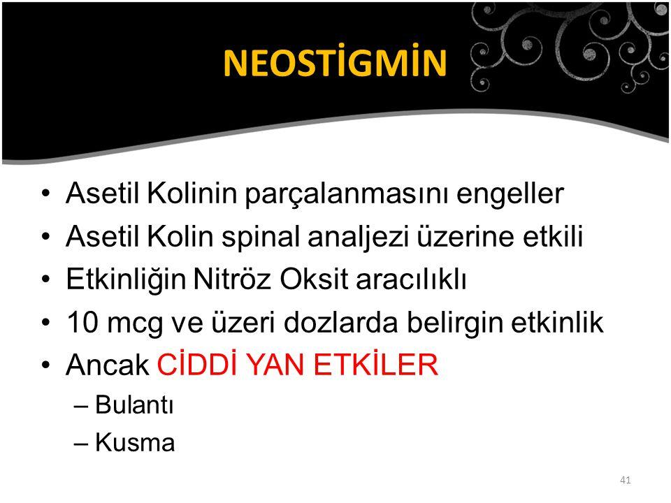 41 NEOSTİGMİN Asetil Kolinin parçalanmasını engeller Asetil Kolin spinal analjezi üzerine etkili Etkinliğin Nitröz Oksit aracılıklı 10 mcg ve üzeri do