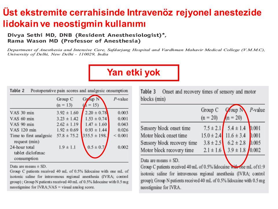 Yan etki yok Üst ekstremite cerrahisinde Intravenöz rejyonel anestezide lidokain ve neostigmin kullanımı
