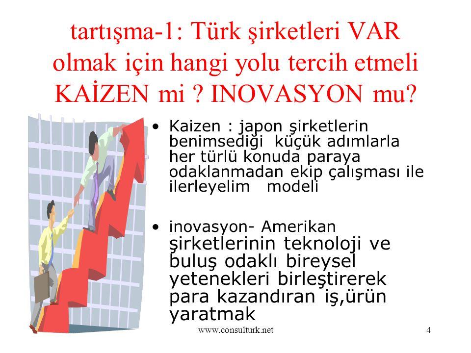 www.consulturk.net4 tartışma-1: Türk şirketleri VAR olmak için hangi yolu tercih etmeli KAİZEN mi ? INOVASYON mu? Kaizen : japon şirketlerin benimsedi