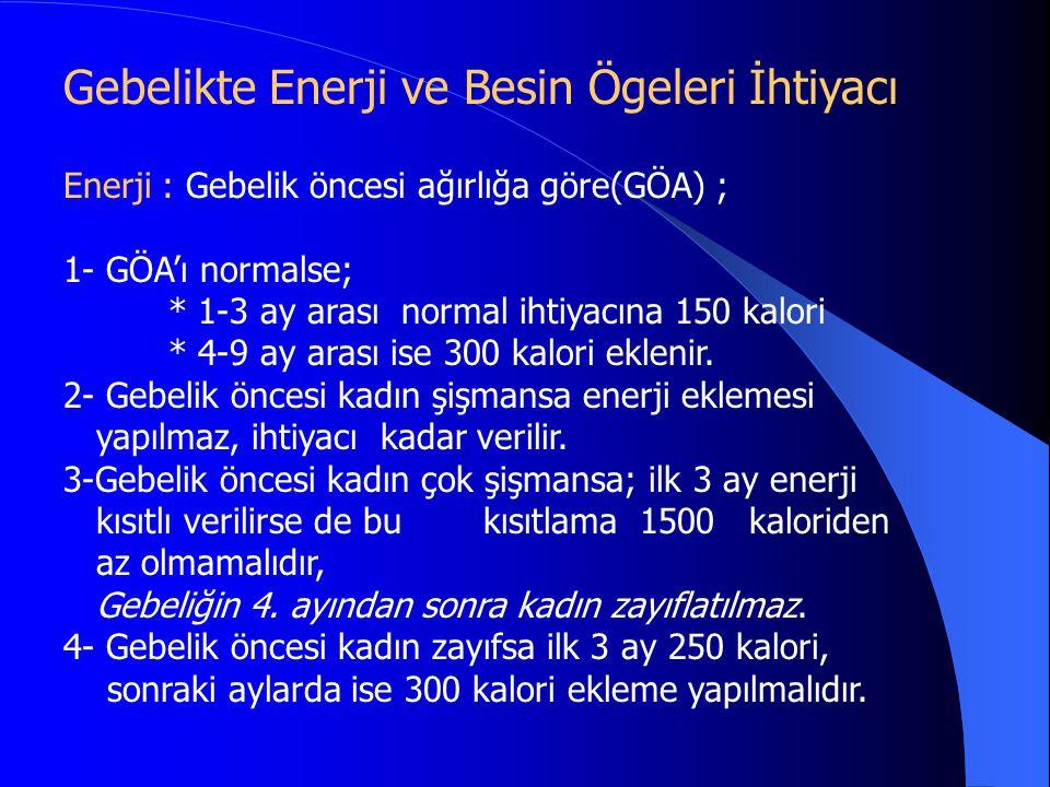 Enerji : Gebelik öncesi ağırlığa göre(GÖA) ; 1- GÖA'ı normalse; * 1-3 ay arası normal ihtiyacına 150 kalori * 4-9 ay arası ise 300 kalori eklenir. 2-