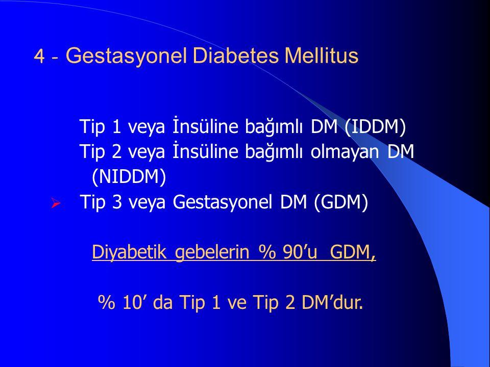 4 - Gestasyonel Diabetes Mellitus Tip 1 veya İnsüline bağımlı DM (IDDM) Tip 2 veya İnsüline bağımlı olmayan DM (NIDDM)  Tip 3 veya Gestasyonel DM (GD