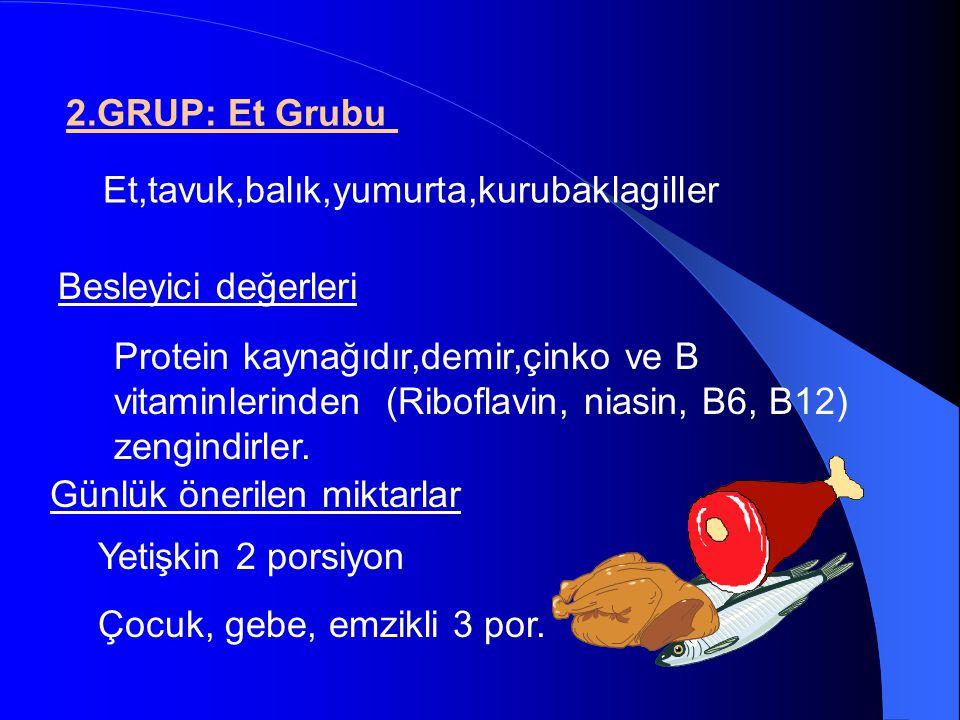 2.GRUP: Et Grubu Et,tavuk,balık,yumurta,kurubaklagiller Besleyici değerleri Günlük önerilen miktarlar Protein kaynağıdır,demir,çinko ve B vitaminlerin