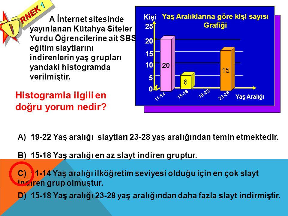 A İnternet sitesinde yayınlanan Kütahya Siteler Yurdu Öğrencilerine ait SBS eğitim slaytlarını indirenlerin yaş grupları yandaki histogramda verilmişt