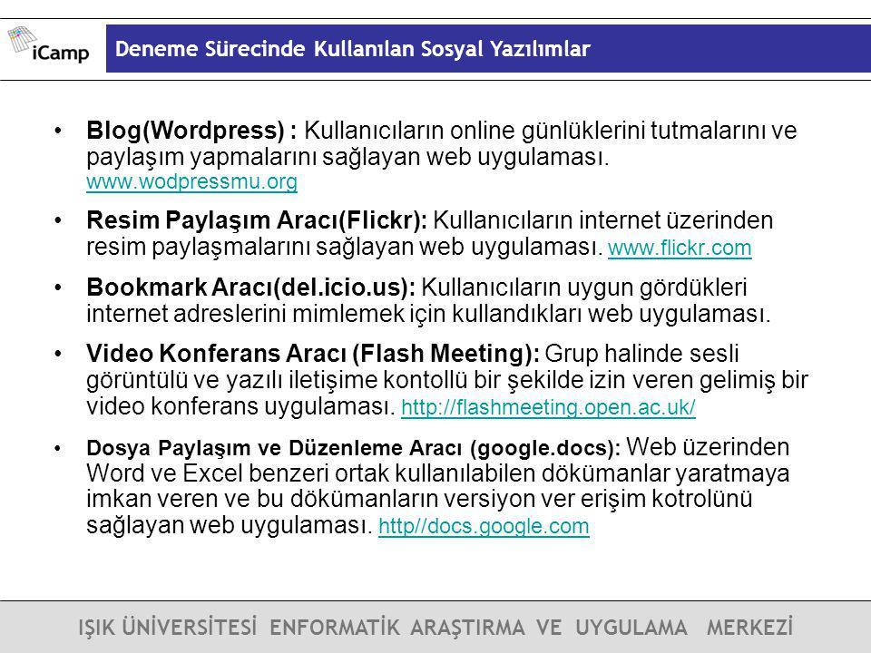 Deneme Sürecinde Kullanılan Sosyal Yazılımlar IŞIK ÜNİVERSİTESİ ENFORMATİK ARAŞTIRMA VE UYGULAMA MERKEZİ Blog(Wordpress) : Kullanıcıların online günlü
