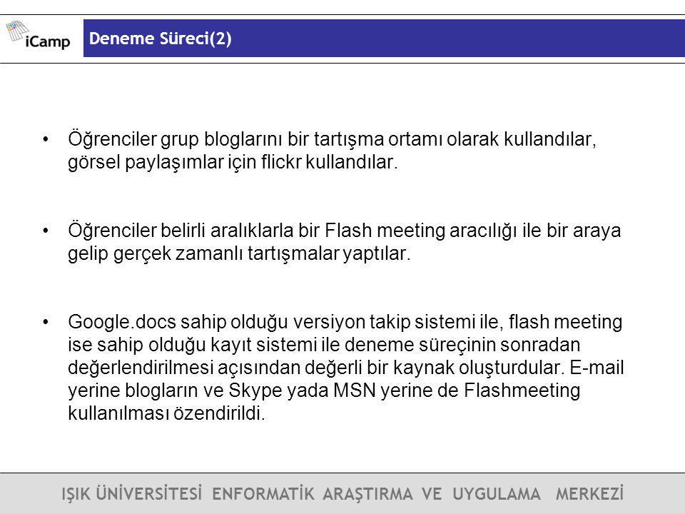 Deneme Süreci(2) IŞIK ÜNİVERSİTESİ ENFORMATİK ARAŞTIRMA VE UYGULAMA MERKEZİ Öğrenciler grup bloglarını bir tartışma ortamı olarak kullandılar, görsel
