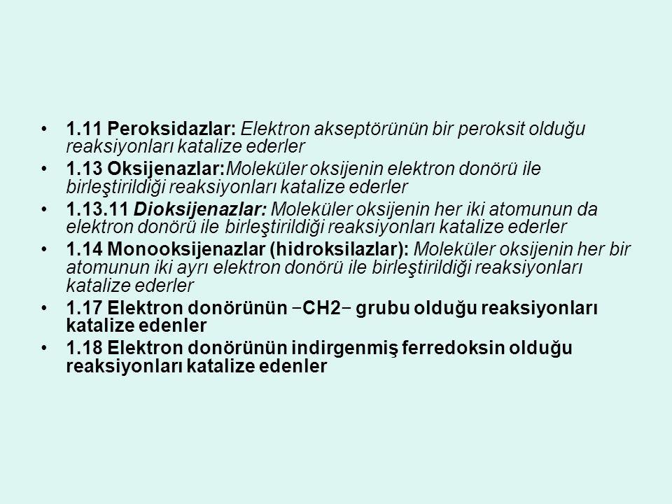 1.11 Peroksidazlar: Elektron akseptörünün bir peroksit olduğu reaksiyonları katalize ederler 1.13 Oksijenazlar:Moleküler oksijenin elektron donörü ile