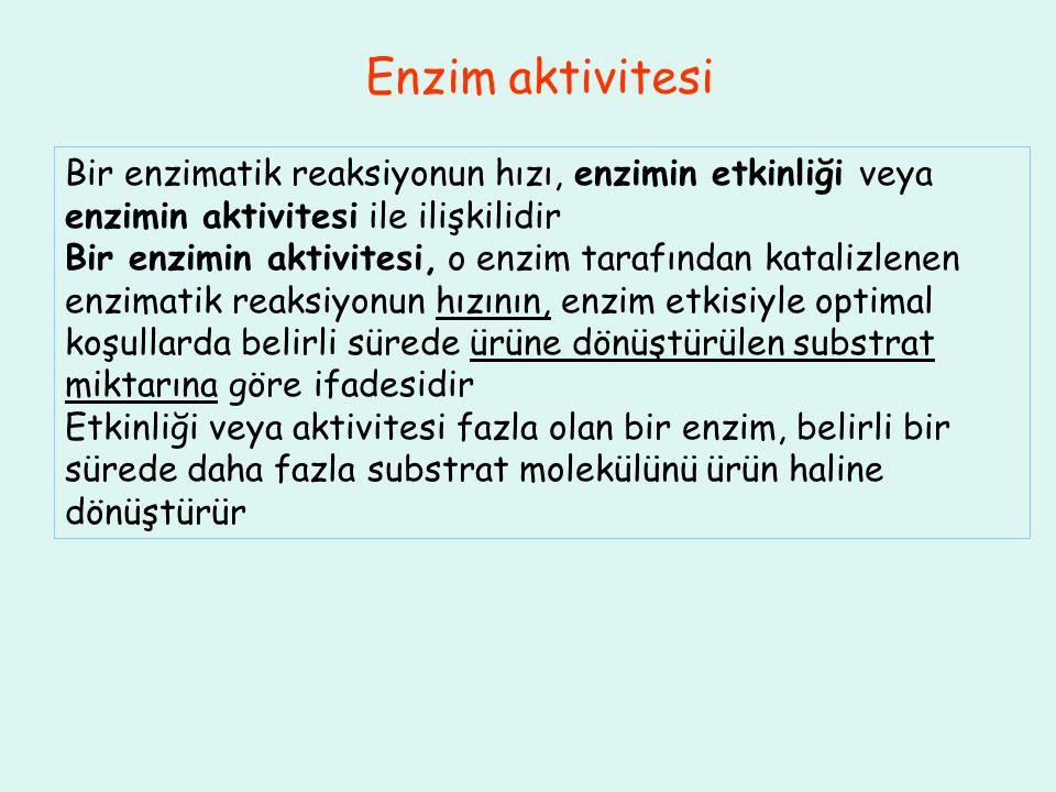Enzim aktivitesi Bir enzimatik reaksiyonun hızı, enzimin etkinliği veya enzimin aktivitesi ile ilişkilidir Bir enzimin aktivitesi, o enzim tarafından