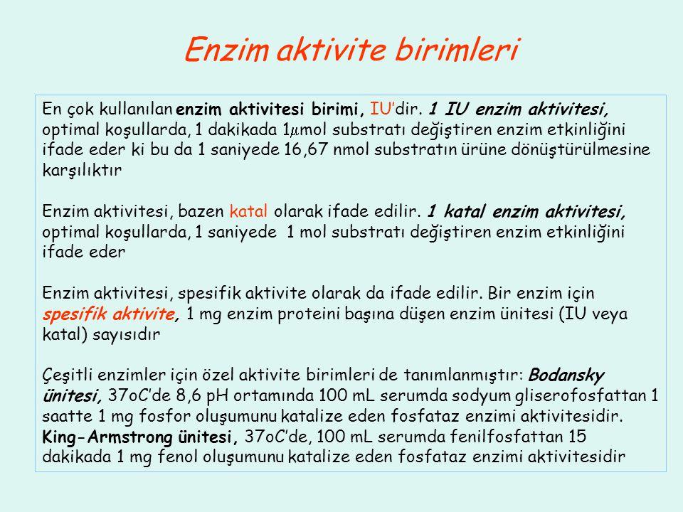 Enzim aktivite birimleri En çok kullanılan enzim aktivitesi birimi, IU'dir. 1 IU enzim aktivitesi, optimal koşullarda, 1 dakikada 1  mol substratı de