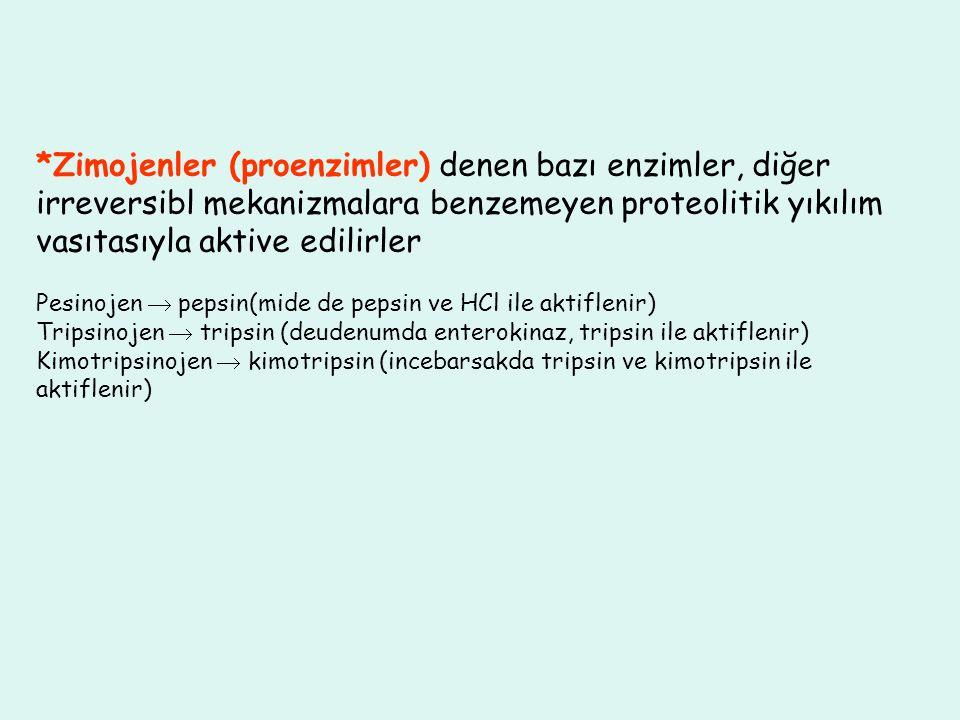*Zimojenler (proenzimler) denen bazı enzimler, diğer irreversibl mekanizmalara benzemeyen proteolitik yıkılım vasıtasıyla aktive edilirler Pesinojen 