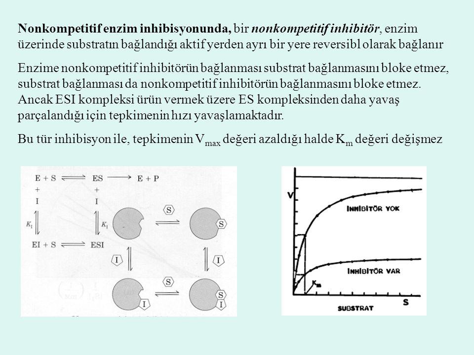 Nonkompetitif enzim inhibisyonunda, bir nonkompetitif inhibitör, enzim üzerinde substratın bağlandığı aktif yerden ayrı bir yere reversibl olarak bağl