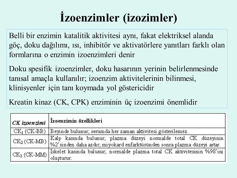 İzoenzimler (izozimler) Belli bir enzimin katalitik aktivitesi aynı, fakat elektriksel alanda göç, doku dağılımı, ısı, inhibitör ve aktivatörlere yanı