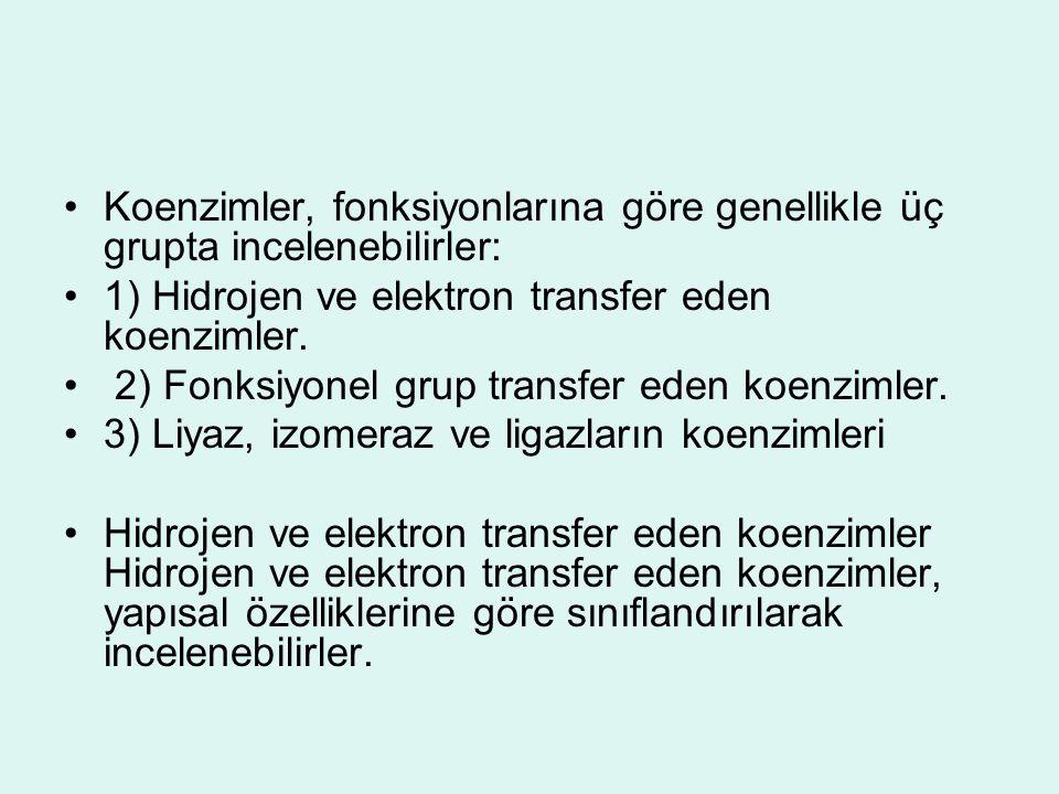 Koenzimler, fonksiyonlarına göre genellikle üç grupta incelenebilirler: 1) Hidrojen ve elektron transfer eden koenzimler. 2) Fonksiyonel grup transfer