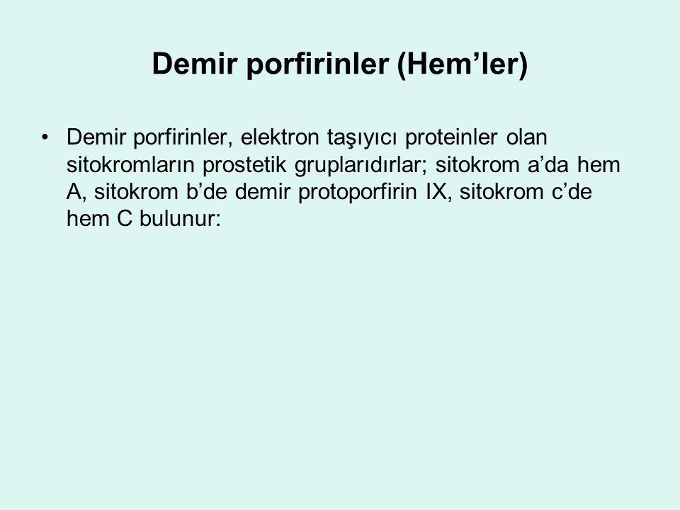 Demir porfirinler (Hem'ler) Demir porfirinler, elektron taşıyıcı proteinler olan sitokromların prostetik gruplarıdırlar; sitokrom a'da hem A, sitokrom