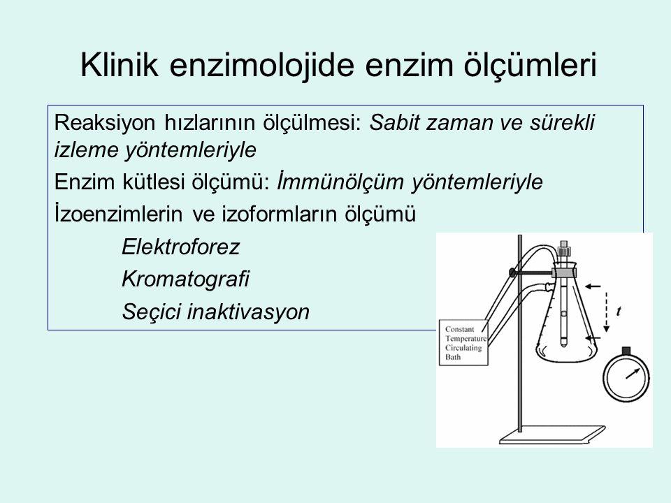 Klinik enzimolojide enzim ölçümleri Reaksiyon hızlarının ölçülmesi: Sabit zaman ve sürekli izleme yöntemleriyle Enzim kütlesi ölçümü: İmmünölçüm yönte