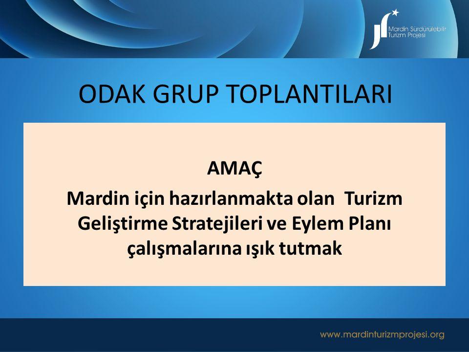 AMAÇ Mardin için hazırlanmakta olan Turizm Geliştirme Stratejileri ve Eylem Planı çalışmalarına ışık tutmak ODAK GRUP TOPLANTILARI