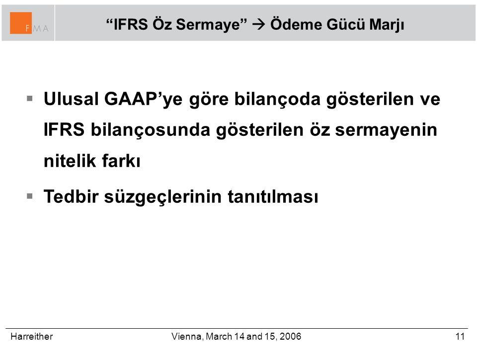 Harreither11Vienna, March 14 and 15, 2006 IFRS Öz Sermaye  Ödeme Gücü Marjı  Ulusal GAAP'ye göre bilançoda gösterilen ve IFRS bilançosunda gösterilen öz sermayenin nitelik farkı  Tedbir süzgeçlerinin tanıtılması