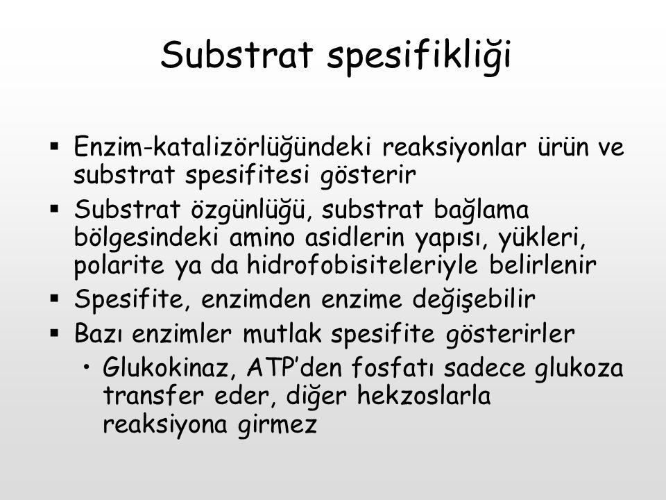 Substrat spesifikliği  Enzim-katalizörlüğündeki reaksiyonlar ürün ve substrat spesifitesi gösterir  Substrat özgünlüğü, substrat bağlama bölgesindek