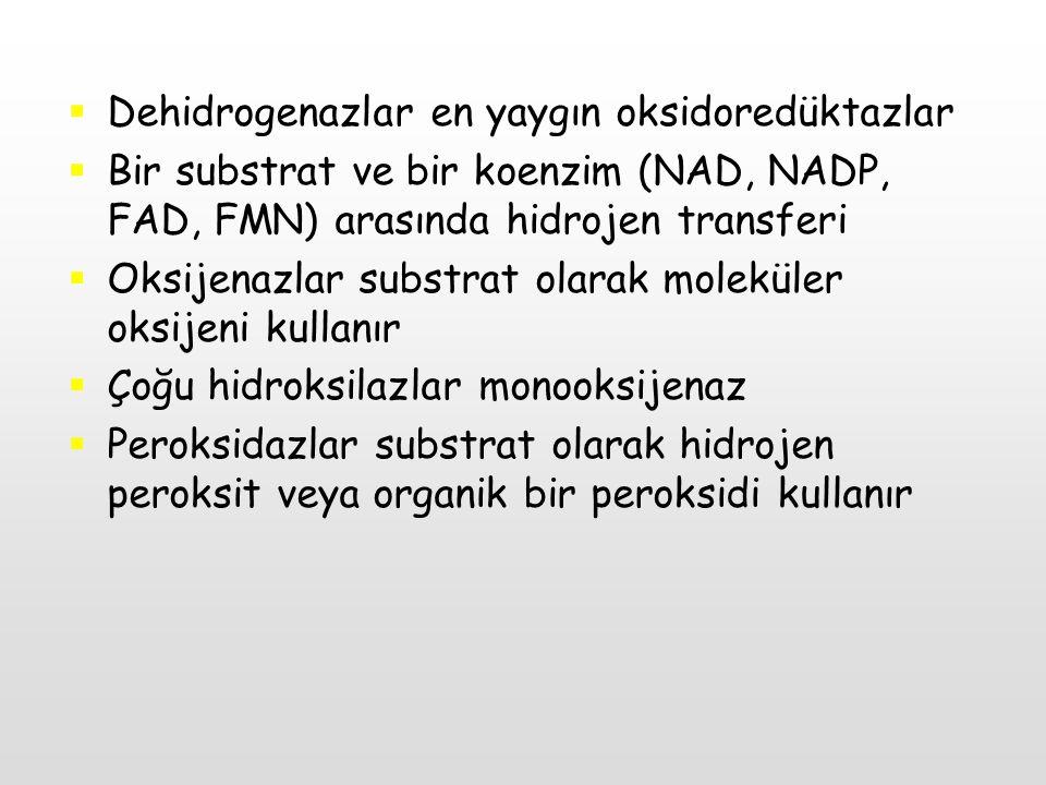  Dehidrogenazlar en yaygın oksidoredüktazlar  Bir substrat ve bir koenzim (NAD, NADP, FAD, FMN) arasında hidrojen transferi  Oksijenazlar substrat