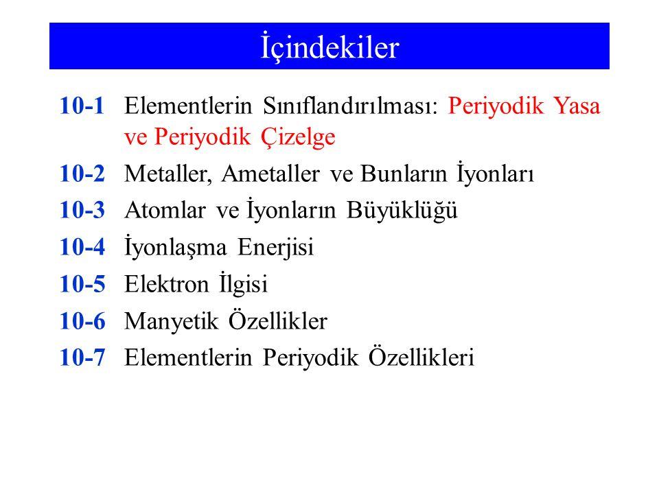 İçindekiler 10-1Elementlerin Sınıflandırılması: Periyodik Yasa ve Periyodik Çizelge 10-2Metaller, Ametaller ve Bunların İyonları 10-3Atomlar ve İyonla