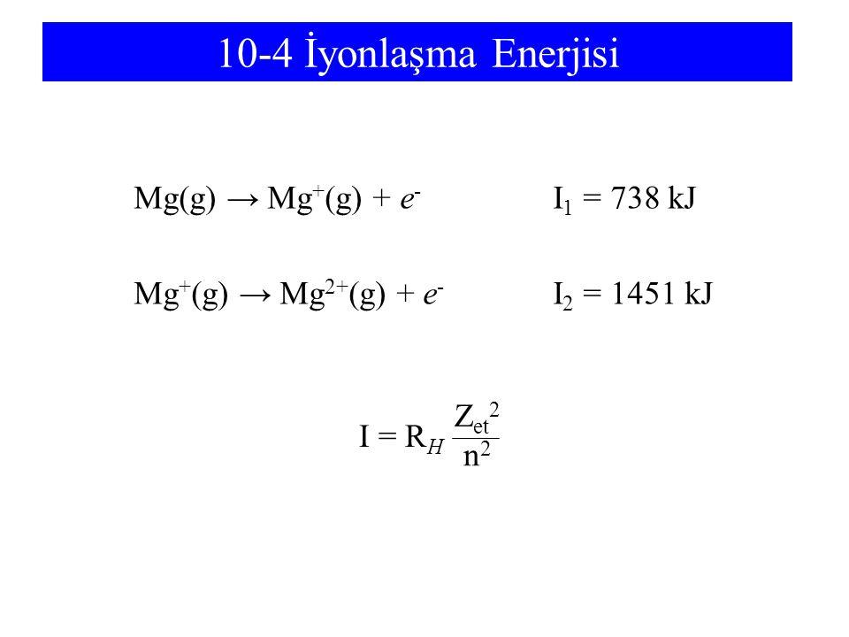 10-4 İyonlaşma Enerjisi Mg(g) → Mg + (g) + e - I 1 = 738 kJ Mg + (g) → Mg 2+ (g) + e - I 2 = 1451 kJ I = R H n2n2 Zet2Zet2