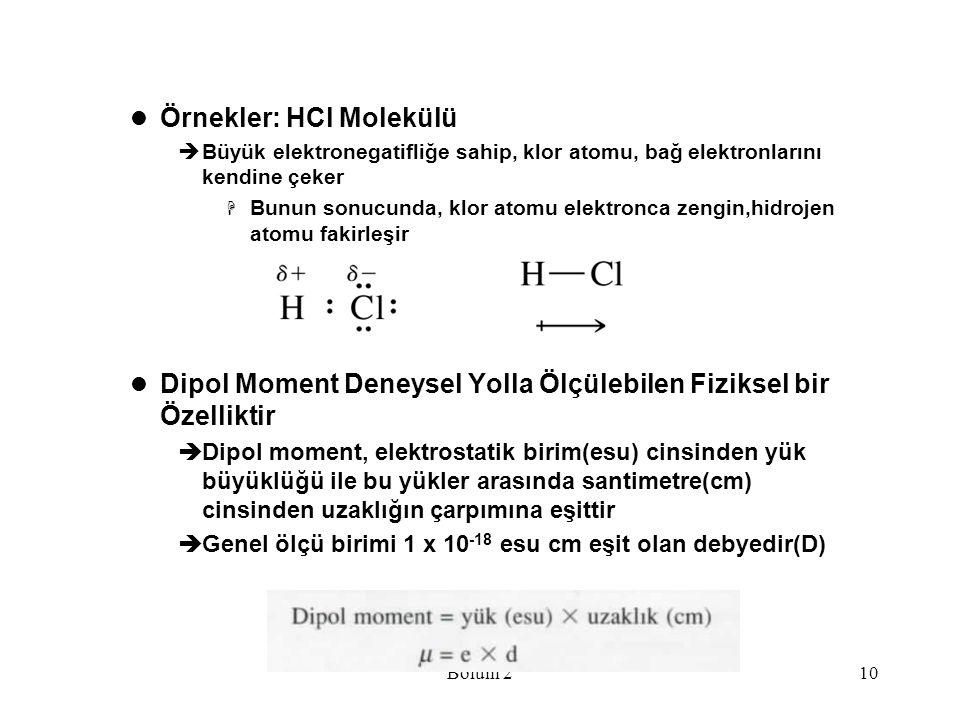 Bölüm 210 Örnekler: HCl Molekülü  Büyük elektronegatifliğe sahip, klor atomu, bağ elektronlarını kendine çeker  Bunun sonucunda, klor atomu elektron
