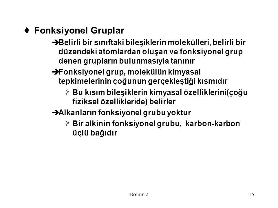 Bölüm 215  Fonksiyonel Gruplar  Belirli bir sınıftaki bileşiklerin molekülleri, belirli bir düzendeki atomlardan oluşan ve fonksiyonel grup denen gr