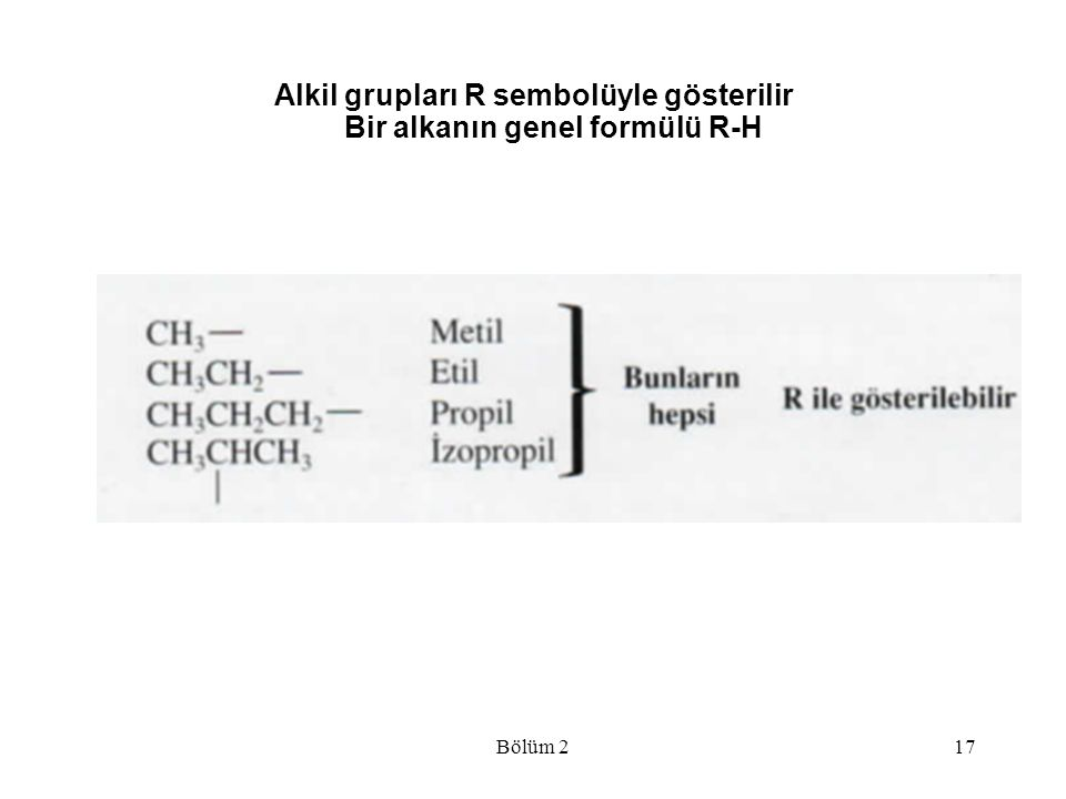 Alkil grupları R sembolüyle gösterilir Bir alkanın genel formülü R-H Bölüm 217