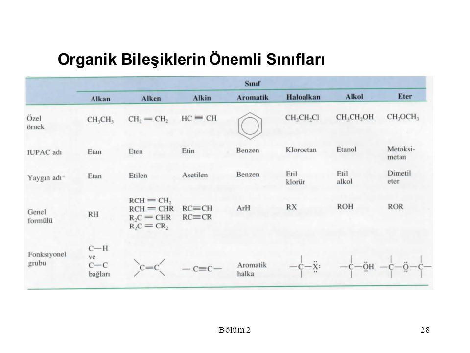 Bölüm 228 Organik Bileşiklerin Önemli Sınıfları