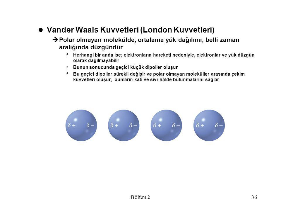 Bölüm 236 Vander Waals Kuvvetleri (London Kuvvetleri)  Polar olmayan molekülde, ortalama yük dağılımı, belli zaman aralığında düzgündür  Herhangi bi