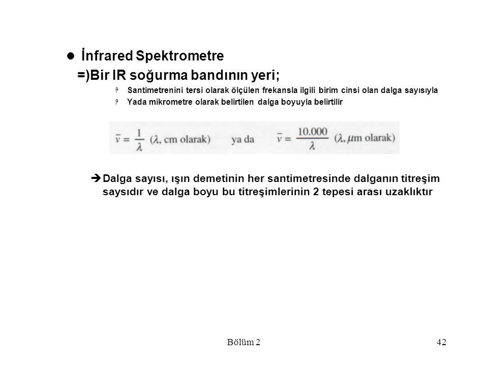 Bölüm 242 İnfrared Spektrometre =)Bir IR soğurma bandının yeri;  Santimetrenini tersi olarak ölçülen frekansla ilgili birim cinsi olan dalga sayısıyl