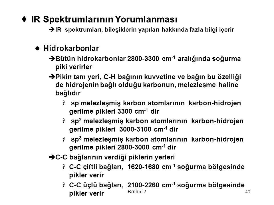 Bölüm 247  IR Spektrumlarının Yorumlanması  IR spektrumları, bileşiklerin yapıları hakkında fazla bilgi içerir Hidrokarbonlar  Bütün hidrokarbonlar