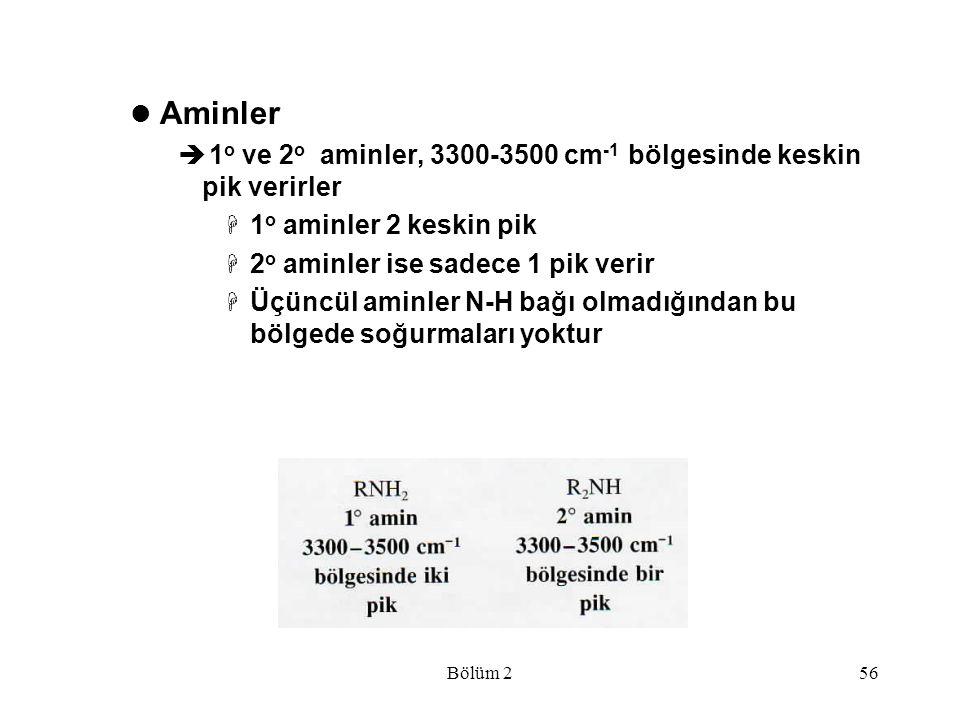 Bölüm 256 Aminler  1 o ve 2 o aminler, 3300-3500 cm -1 bölgesinde keskin pik verirler  1 o aminler 2 keskin pik  2 o aminler ise sadece 1 pik verir