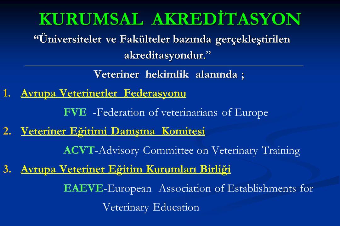 """KURUMSAL AKREDİTASYON """"Üniversiteler ve Fakülteler bazında gerçekleştirilen akreditasyondur."""" Veteriner hekimlik alanında ; 1. 1.Avrupa Veterinerler F"""