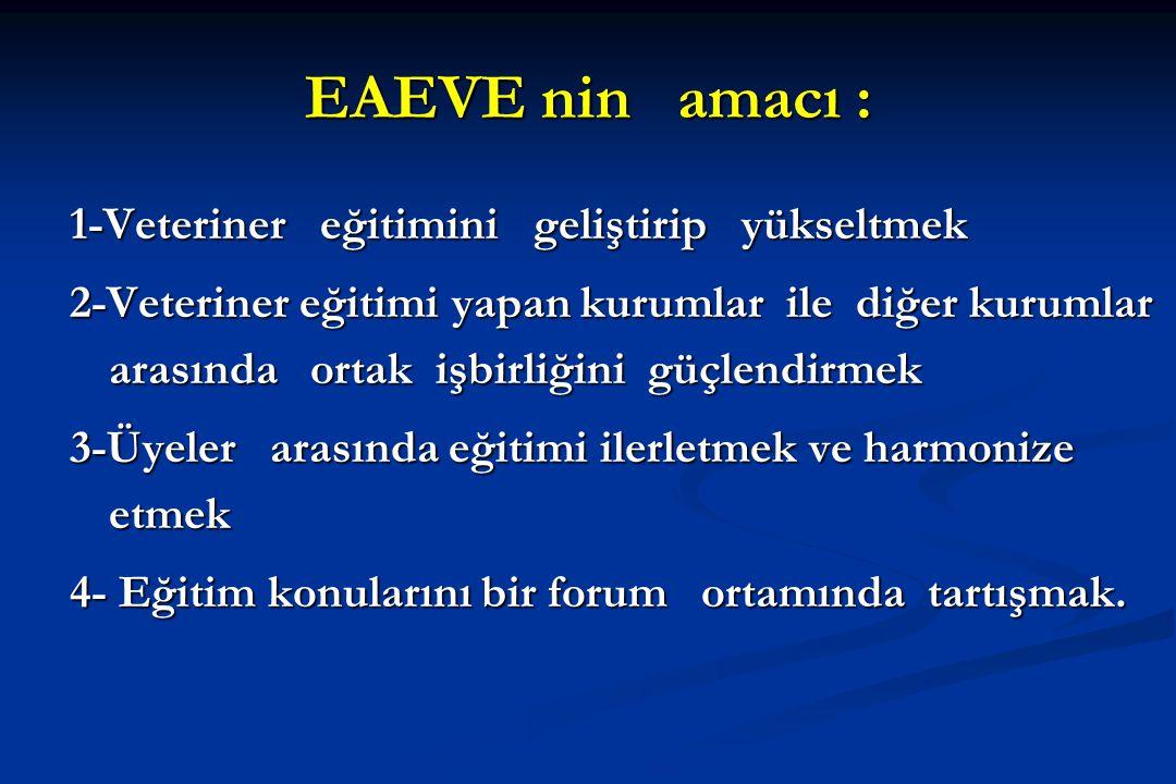 EAEVE nin amacı : 1-Veteriner eğitimini geliştirip yükseltmek 2-Veteriner eğitimi yapan kurumlar ile diğer kurumlar arasında ortak işbirliğini güçlend