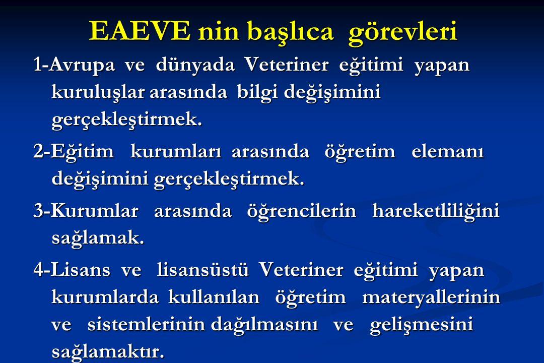 EAEVE nin başlıca görevleri 1-Avrupa ve dünyada Veteriner eğitimi yapan kuruluşlar arasında bilgi değişimini gerçekleştirmek. 2-Eğitim kurumları arası