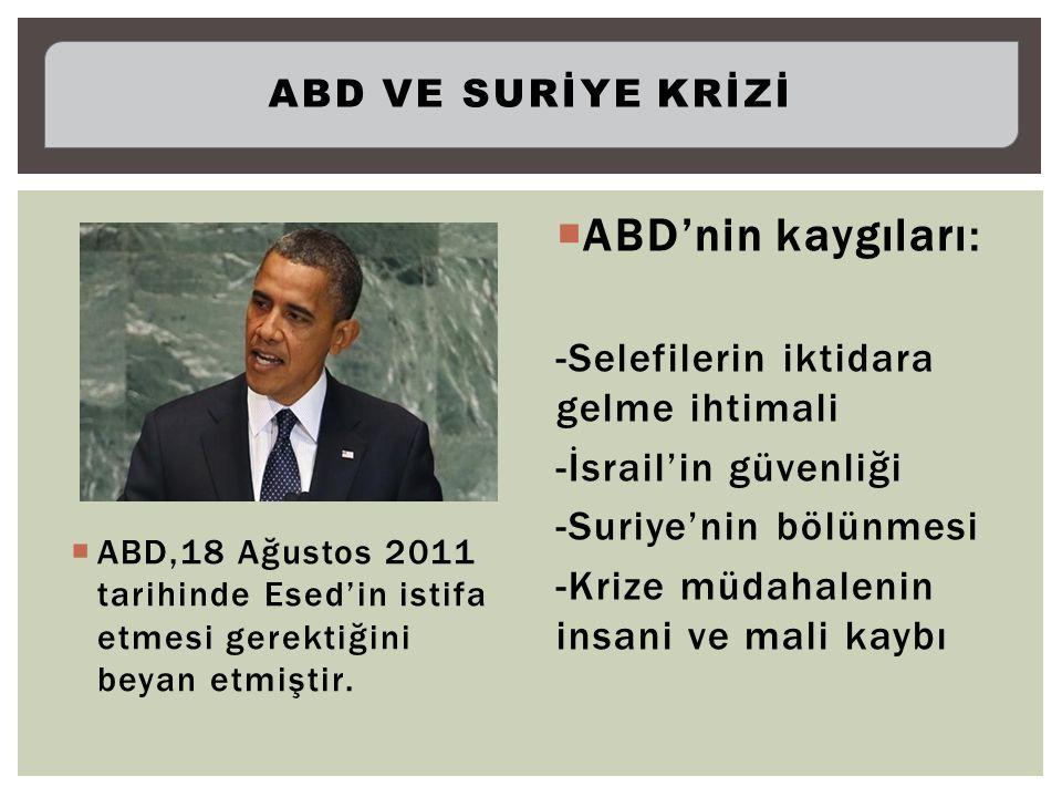  ABD,18 Ağustos 2011 tarihinde Esed'in istifa etmesi gerektiğini beyan etmiştir.