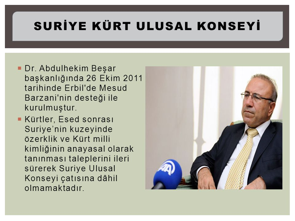  Dr. Abdulhekim Beşar başkanlığında 26 Ekim 2011 tarihinde Erbil'de Mesud Barzani'nin desteği ile kurulmuştur.  Kürtler, Esed sonrası Suriye'nin kuz
