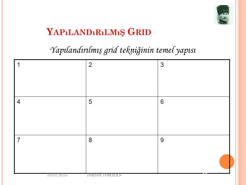Y APıLANDıRıLMıŞ G RID 123 456 789 13.01.2015 15 Yapılandırılmış grid tekniğinin temel yapısı TOLGA TORMAN