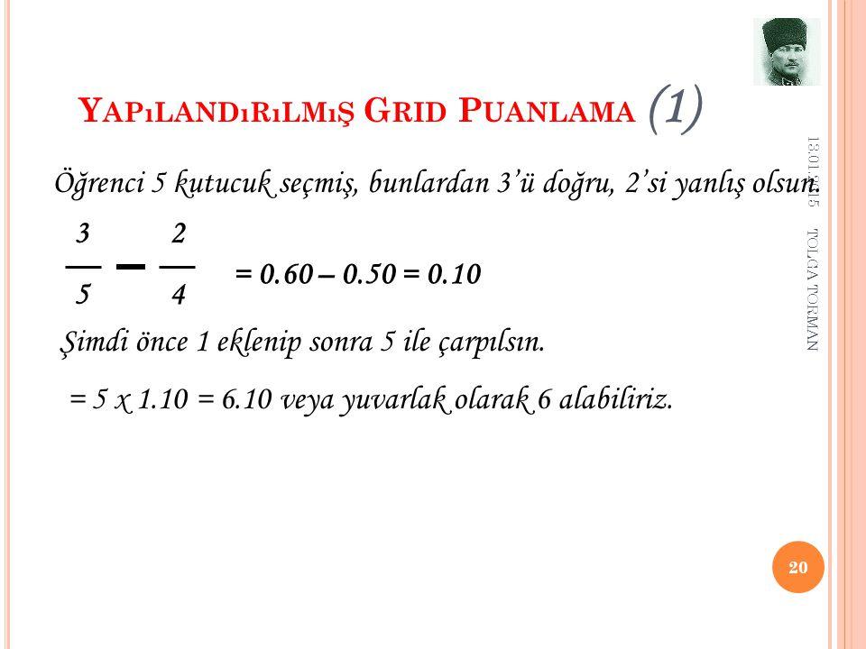 Y APıLANDıRıLMıŞ G RID P UANLAMA (1) 13.01.2015 20 3 2 5 4 Öğrenci 5 kutucuk seçmiş, bunlardan 3'ü doğru, 2'si yanlış olsun. = 0.60 – 0.50 = 0.10 Şimd