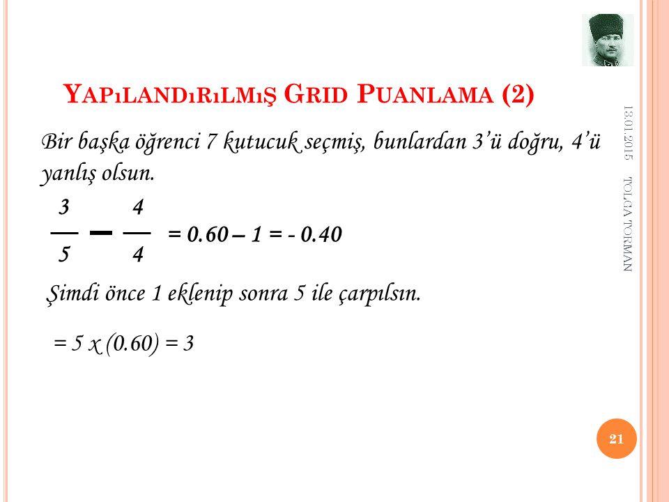 Y APıLANDıRıLMıŞ G RID P UANLAMA (2) 13.01.2015 21 3 4 5 4 Bir başka öğrenci 7 kutucuk seçmiş, bunlardan 3'ü doğru, 4'ü yanlış olsun. = 0.60 – 1 = - 0