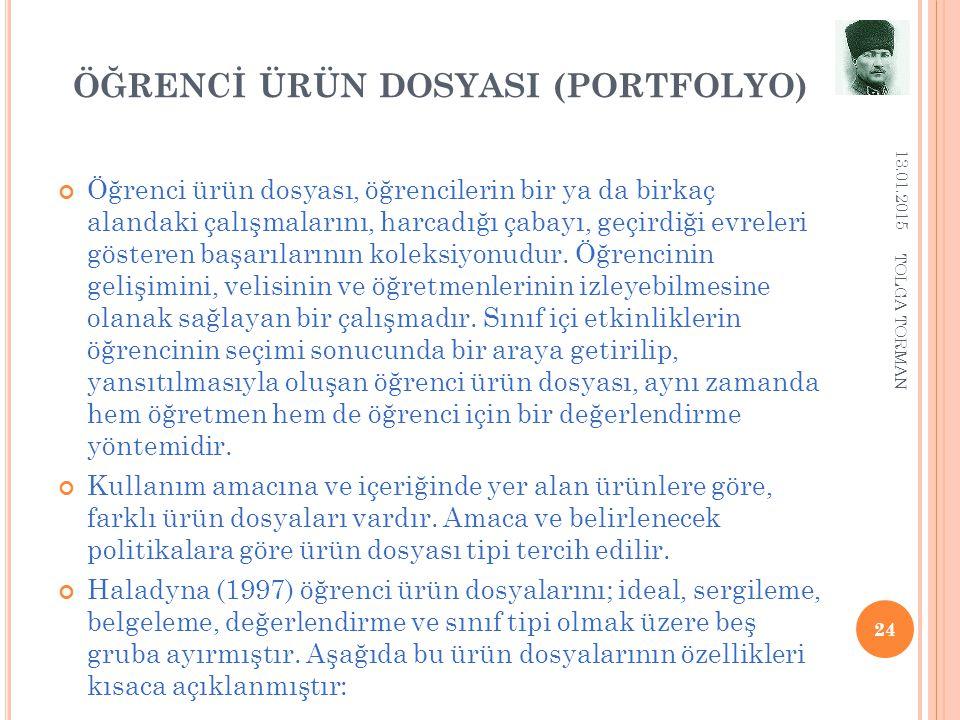 ÖĞRENCİ ÜRÜN DOSYASI (PORTFOLYO) 13.01.2015 24 Öğrenci ürün dosyası, öğrencilerin bir ya da birkaç alandaki çalışmalarını, harcadığı çabayı, geçirdiği