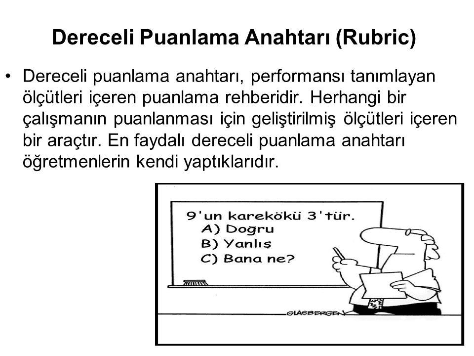 Dereceli Puanlama Anahtarı (Rubric) Dereceli puanlama anahtarı, performansı tanımlayan ölçütleri içeren puanlama rehberidir. Herhangi bir çalışmanın p
