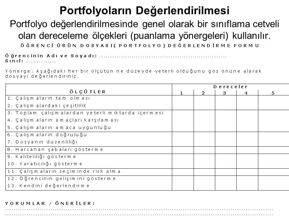 Portfolyoların Değerlendirilmesi Portfolyo değerlendirilmesinde genel olarak bir sınıflama cetveli olan dereceleme ölçekleri (puanlama yönergeleri) ku