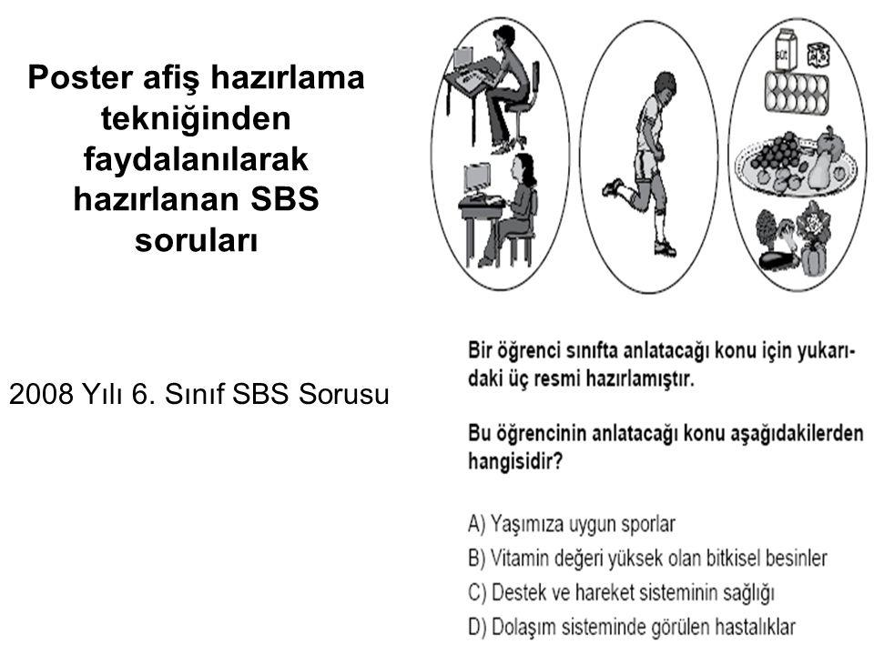 Poster afiş hazırlama tekniğinden faydalanılarak hazırlanan SBS soruları 2008 Yılı 6. Sınıf SBS Sorusu