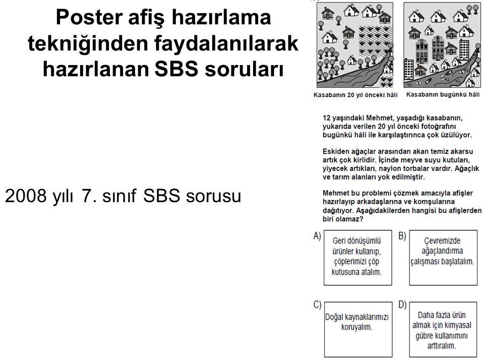 Poster afiş hazırlama tekniğinden faydalanılarak hazırlanan SBS soruları 2008 yılı 7. sınıf SBS sorusu